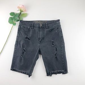 AE Black Distressed Denim Bermuda Shorts w30